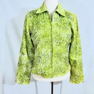 NWT Anage Green Sequin & Pearl Zip Jacket